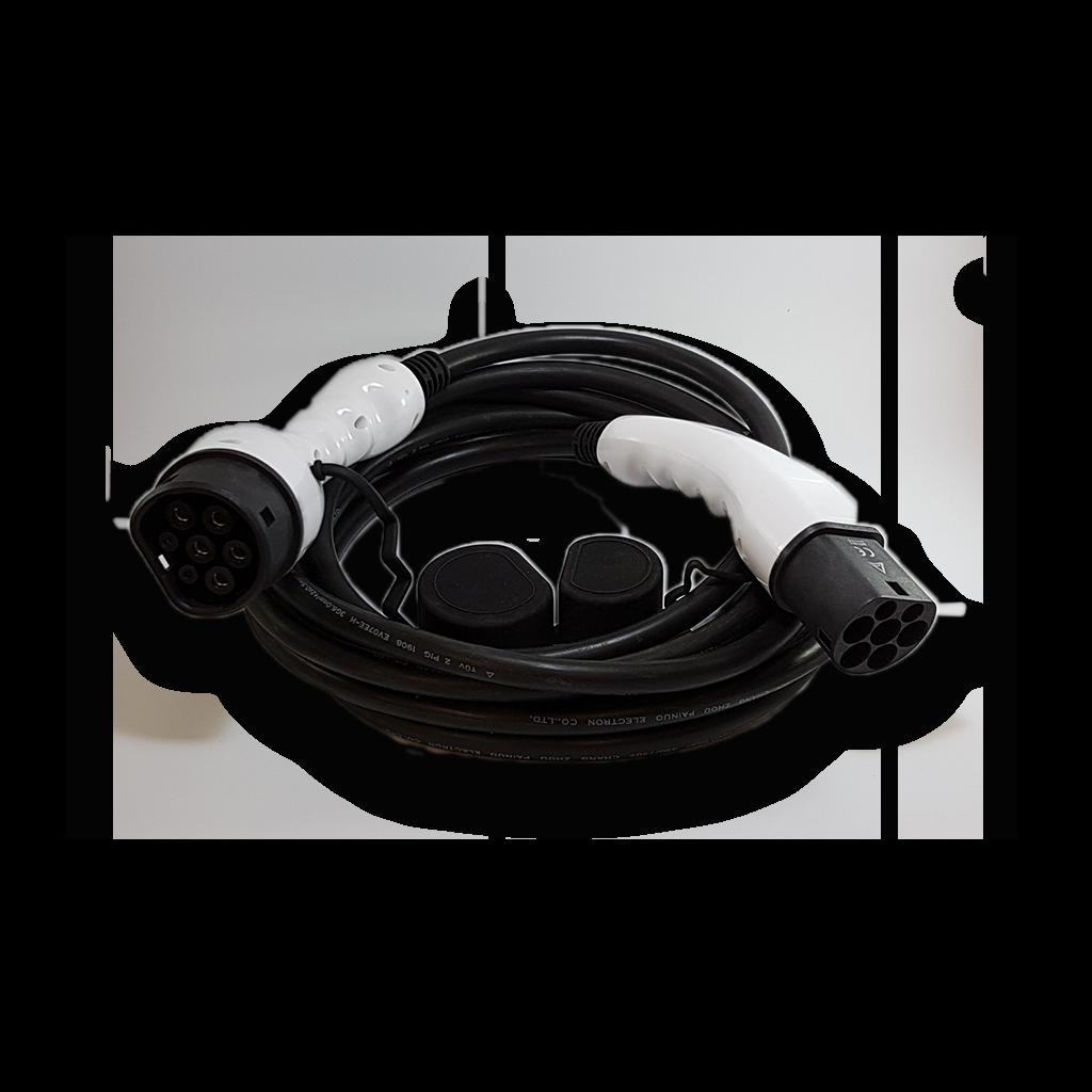 Câble mode3 prise type 2 via type 2 32A triphasé (22kW) 6 Mtrs