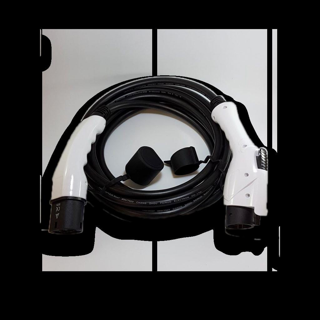 Câble mode3 prise type 2 via type 1 32A mono (7kW) 6Mtrs